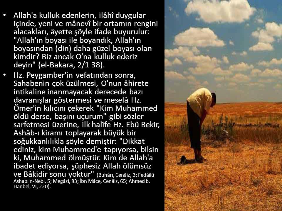Allah a kulluk edenlerin, ilâhî duygular içinde, yeni ve mânevî bir ortamın rengini alacakları, âyette şöyle ifade buyurulur: Allah ın boyası ile boyandık, Allah ın boyasından (din) daha güzel boyası olan kimdir Biz ancak O na kulluk ederiz deyin (el-Bakara, 2/1 38).