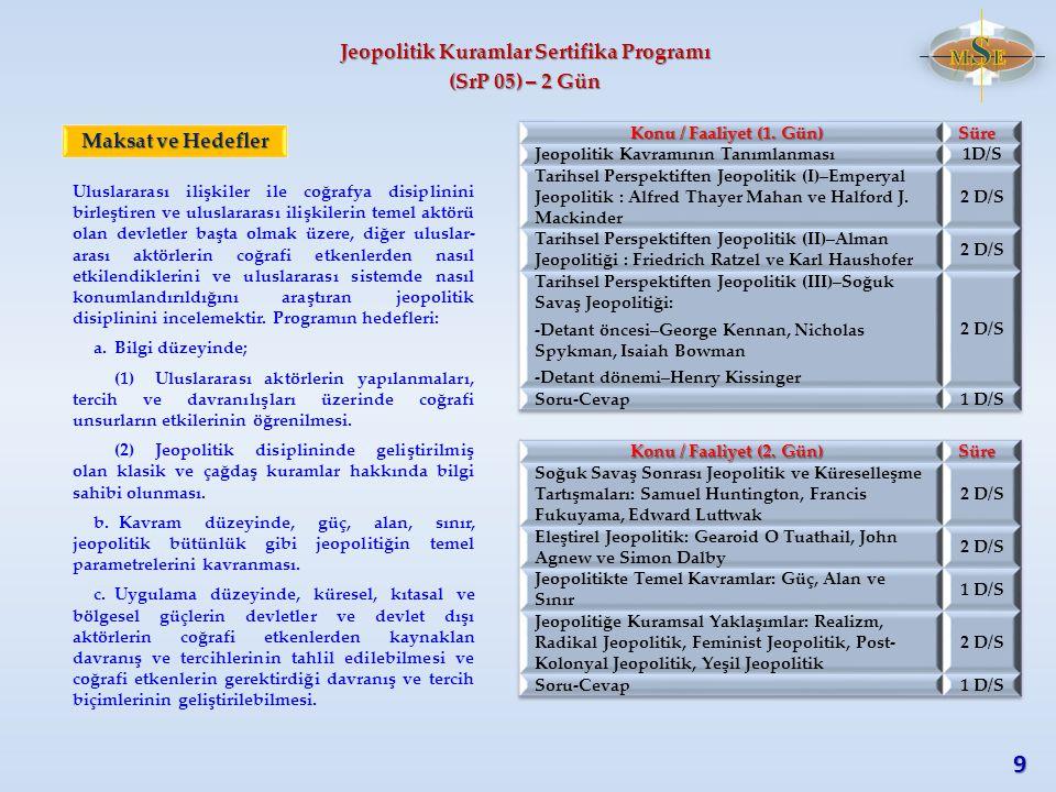 Jeopolitik Kuramlar Sertifika Programı