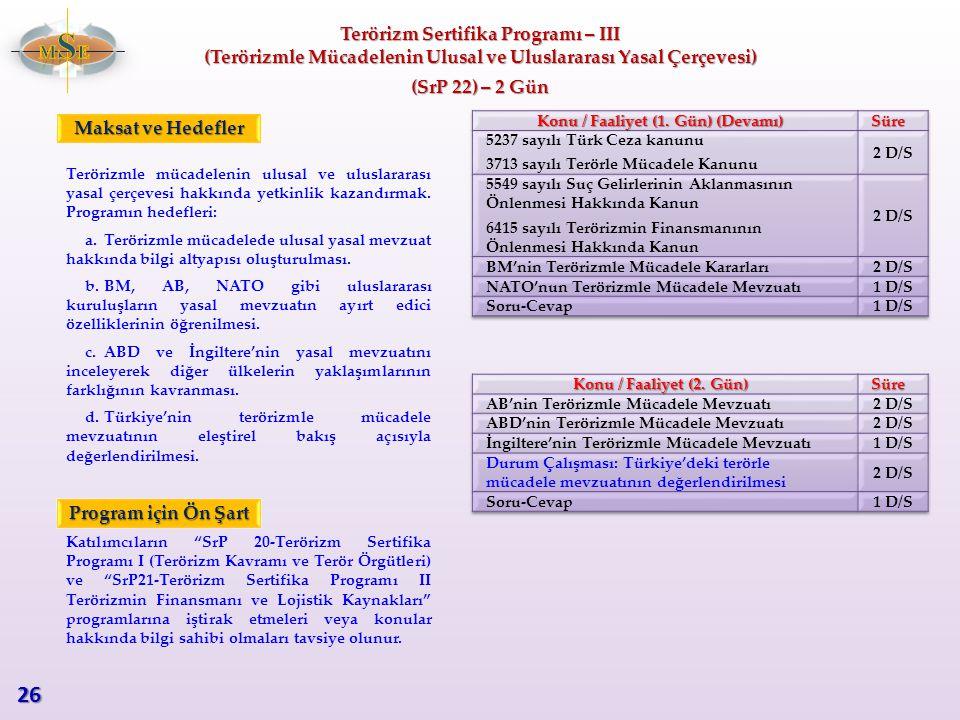 26 MSE Terörizm Sertifika Programı – III