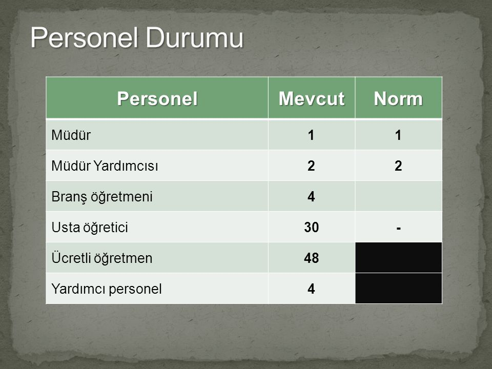 Personel Durumu Personel Mevcut Norm Müdür 1 Müdür Yardımcısı 2