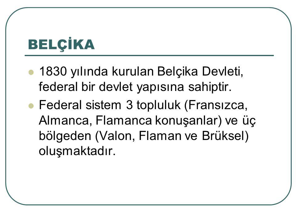 BELÇİKA 1830 yılında kurulan Belçika Devleti, federal bir devlet yapısına sahiptir.