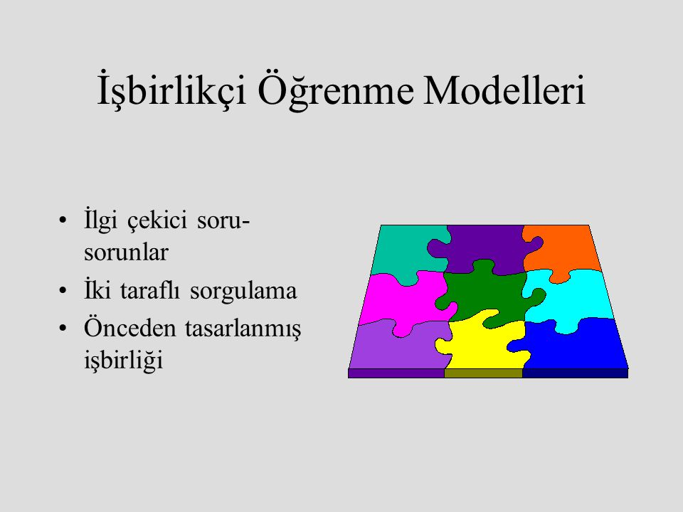 İşbirlikçi Öğrenme Modelleri