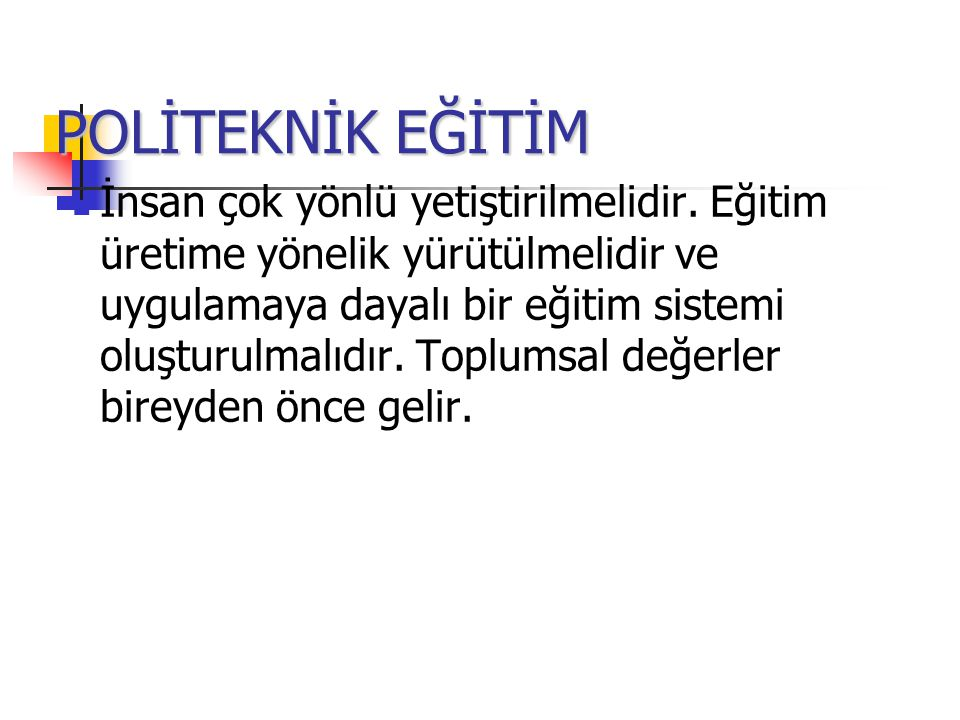 POLİTEKNİK EĞİTİM