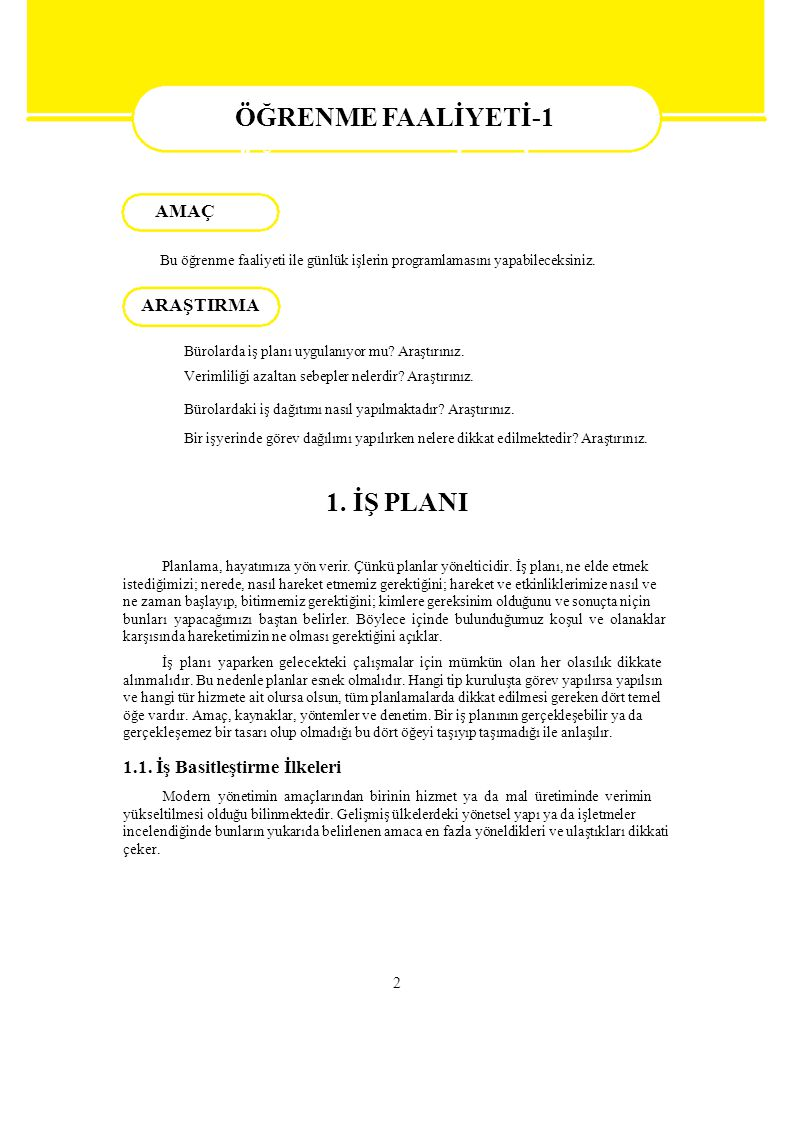 ÖĞRENME FAALİYETİ-1 ÖĞRENME FAALİYETİ–1 1. İŞ PLANI