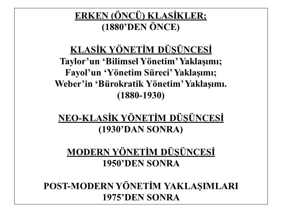 ERKEN (ÖNCÜ) KLASİKLER; (1880'DEN ÖNCE) KLASİK YÖNETİM DÜŞÜNCESİ