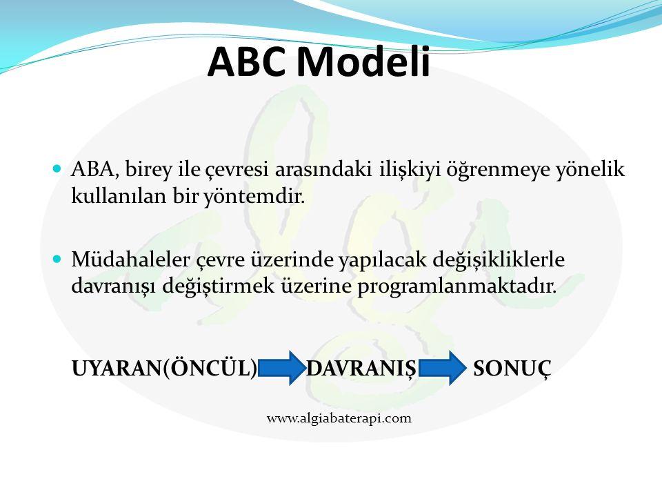 ABC Modeli ABA, birey ile çevresi arasındaki ilişkiyi öğrenmeye yönelik kullanılan bir yöntemdir.