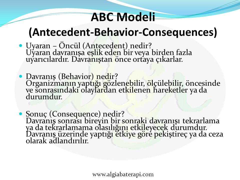 ABC Modeli (Antecedent-Behavior-Consequences)