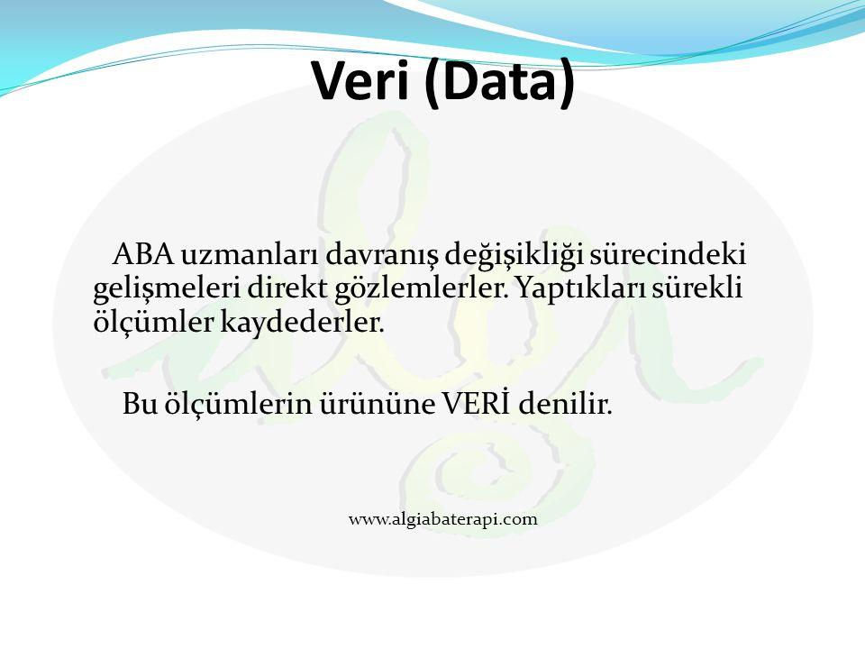 Veri (Data) ABA uzmanları davranış değişikliği sürecindeki gelişmeleri direkt gözlemlerler. Yaptıkları sürekli ölçümler kaydederler.