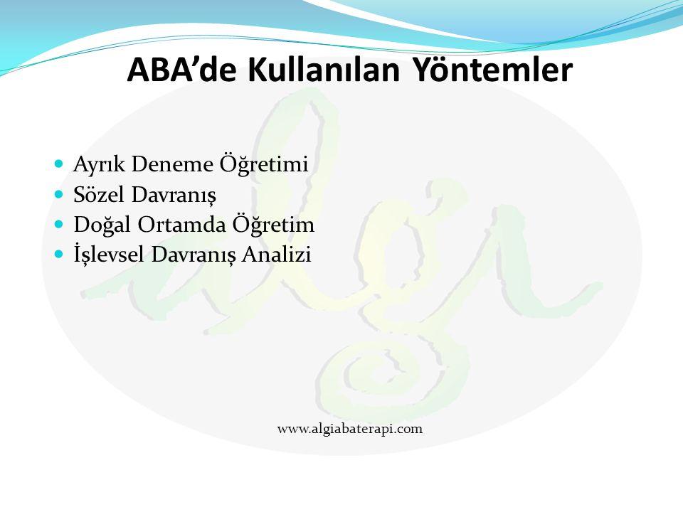 ABA'de Kullanılan Yöntemler