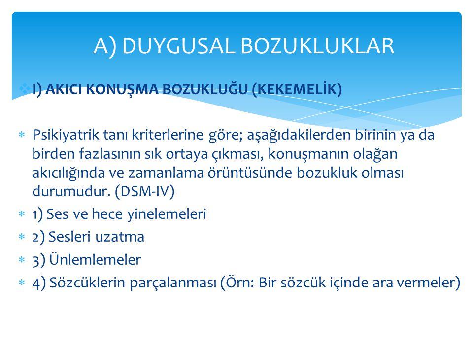 A) DUYGUSAL BOZUKLUKLAR