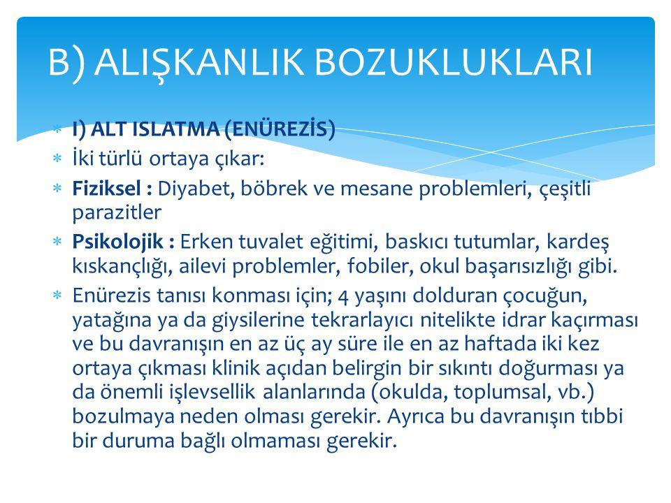 B) ALIŞKANLIK BOZUKLUKLARI
