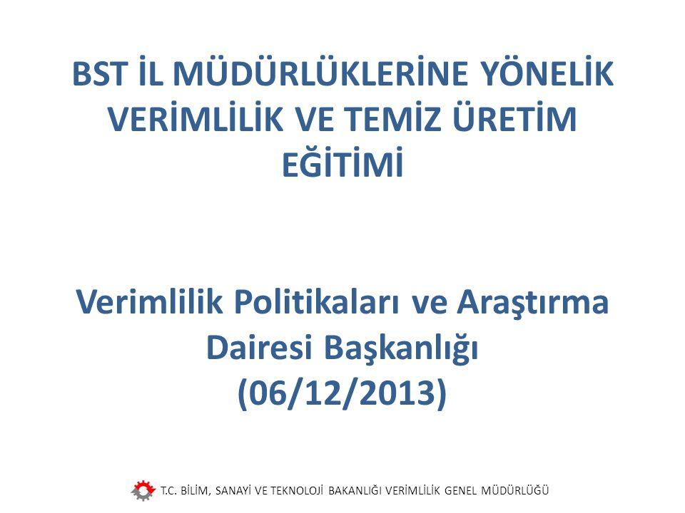 BST İL MÜDÜRLÜKLERİNE YÖNELİK VERİMLİLİK VE TEMİZ ÜRETİM EĞİTİMİ Verimlilik Politikaları ve Araştırma Dairesi Başkanlığı (06/12/2013)