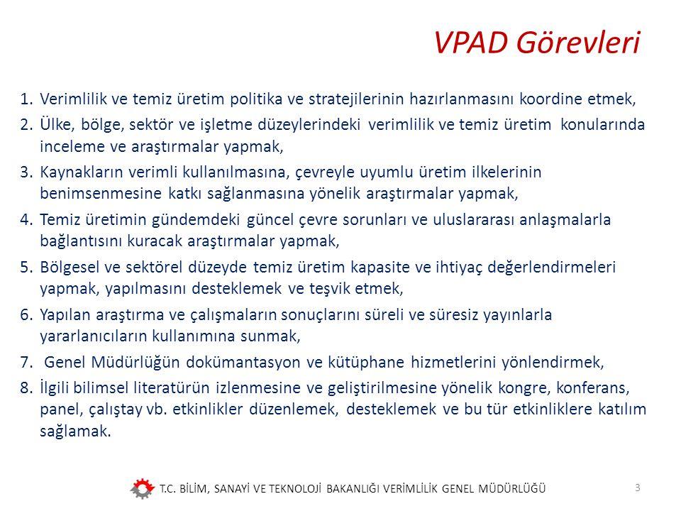 VPAD Görevleri Verimlilik ve temiz üretim politika ve stratejilerinin hazırlanmasını koordine etmek,