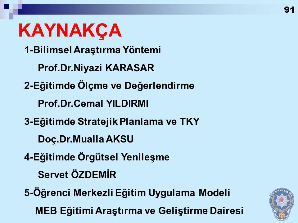 KAYNAKÇA 1-Bilimsel Araştırma Yöntemi Prof.Dr.Niyazi KARASAR