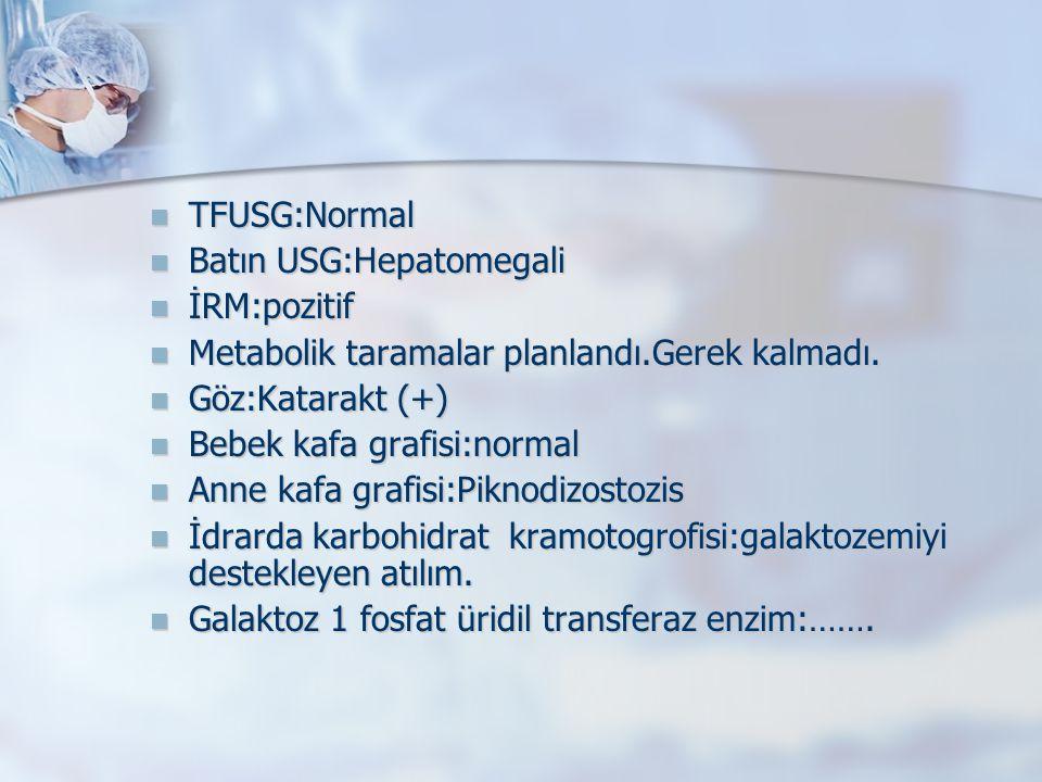 TFUSG:Normal Batın USG:Hepatomegali. İRM:pozitif. Metabolik taramalar planlandı.Gerek kalmadı. Göz:Katarakt (+)