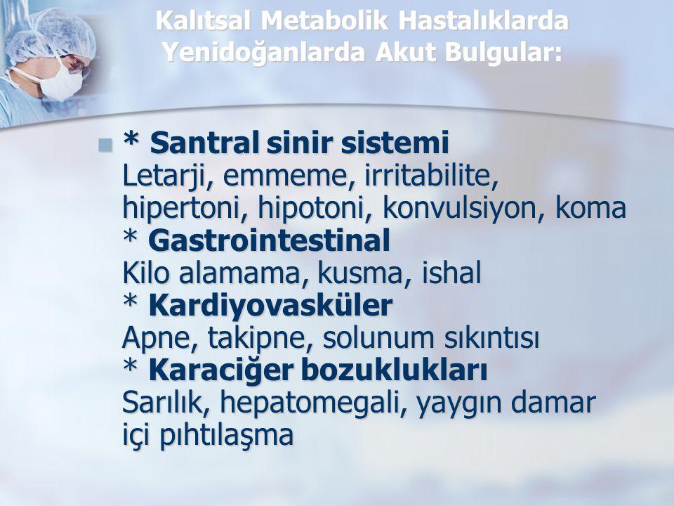 Kalıtsal Metabolik Hastalıklarda Yenidoğanlarda Akut Bulgular: