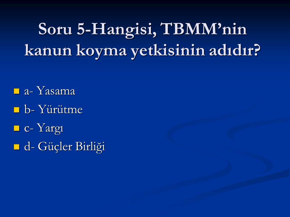 Soru 5-Hangisi, TBMM'nin kanun koyma yetkisinin adıdır