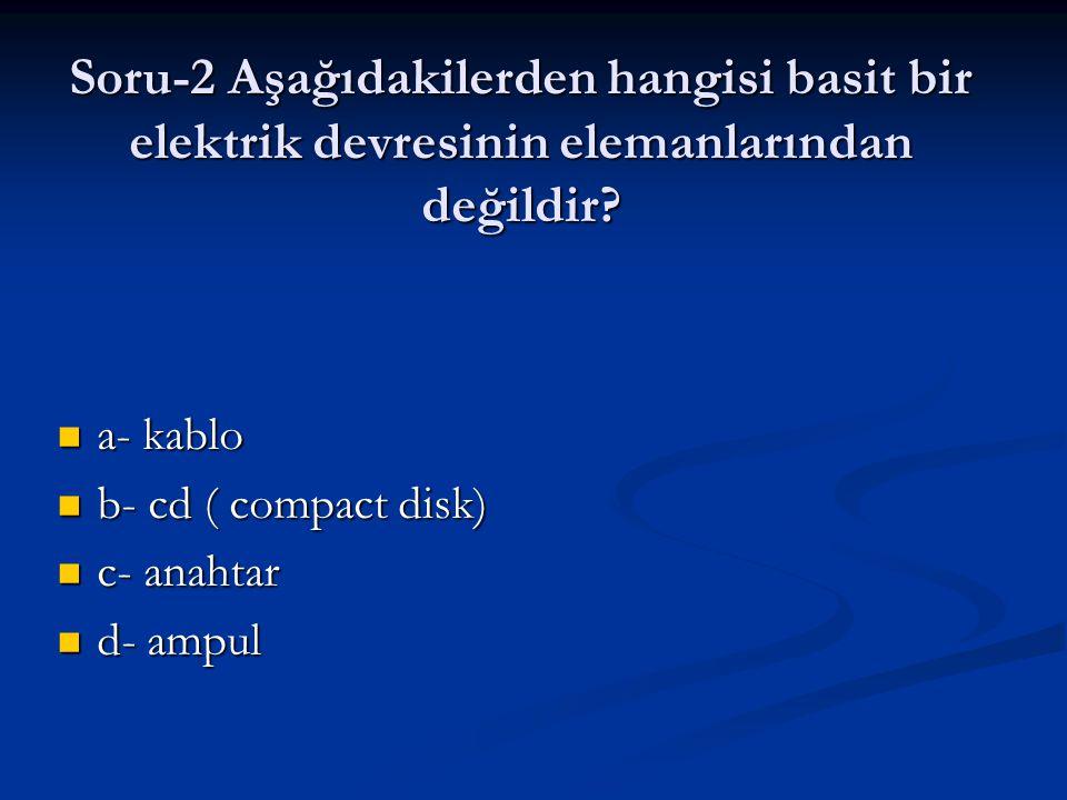Soru-2 Aşağıdakilerden hangisi basit bir elektrik devresinin elemanlarından değildir
