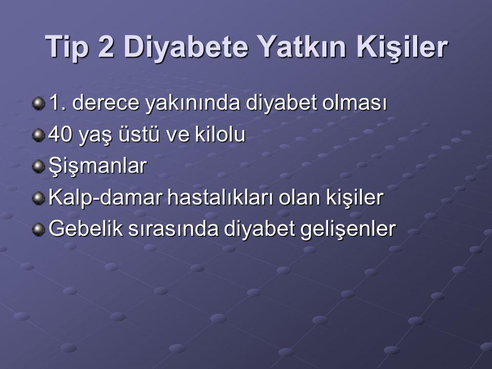 Tip 2 Diyabete Yatkın Kişiler