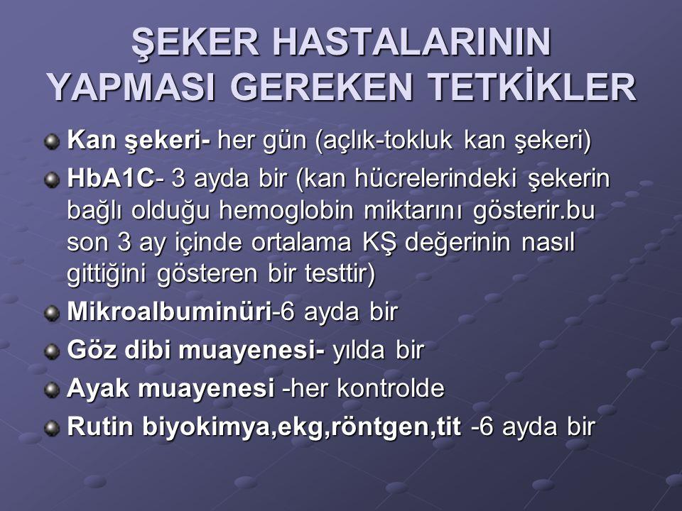 ŞEKER HASTALARININ YAPMASI GEREKEN TETKİKLER