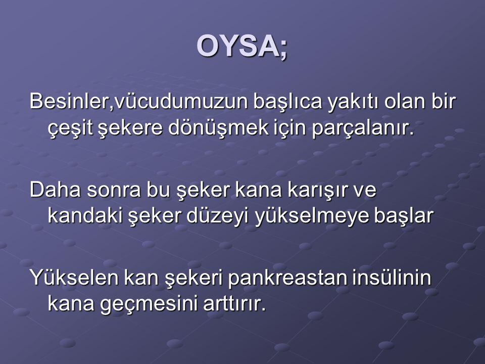 OYSA; Besinler,vücudumuzun başlıca yakıtı olan bir çeşit şekere dönüşmek için parçalanır.