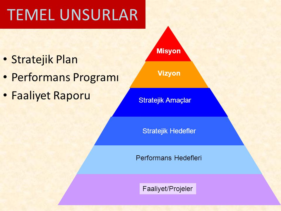 TEMEL UNSURLAR Stratejik Plan Performans Programı Faaliyet Raporu