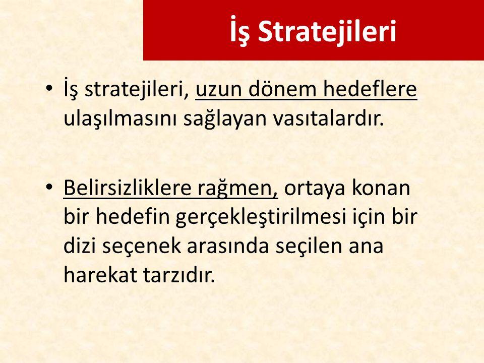 İş Stratejileri İş stratejileri, uzun dönem hedeflere ulaşılmasını sağlayan vasıtalardır.