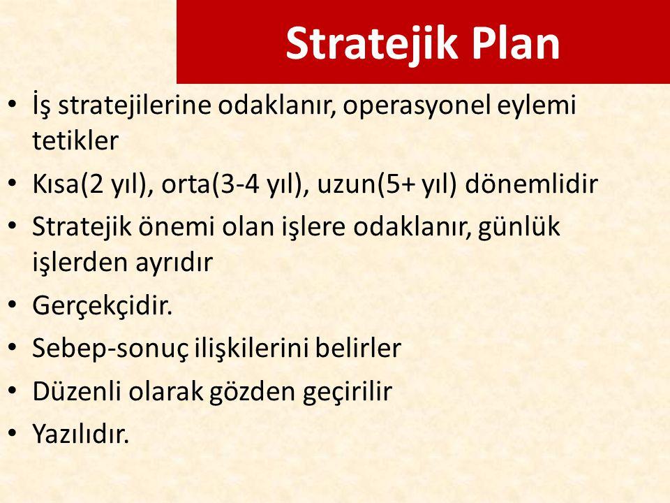 Stratejik Plan İş stratejilerine odaklanır, operasyonel eylemi tetikler. Kısa(2 yıl), orta(3-4 yıl), uzun(5+ yıl) dönemlidir.