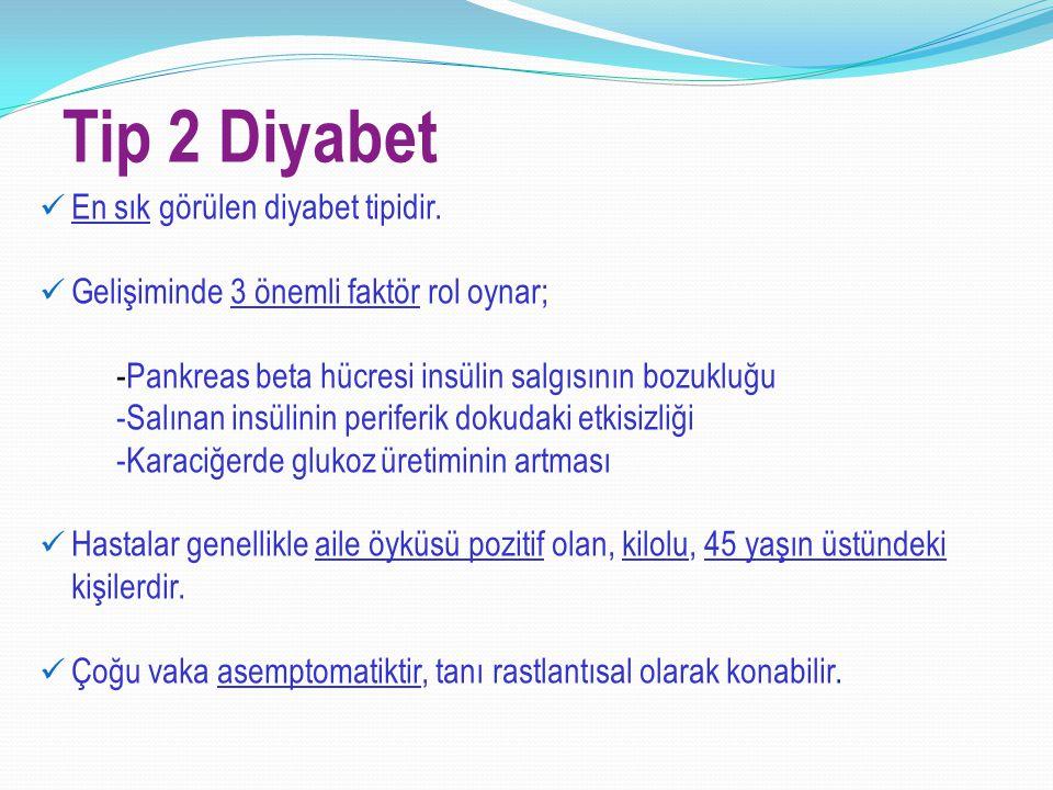 Tip 2 Diyabet En sık görülen diyabet tipidir.