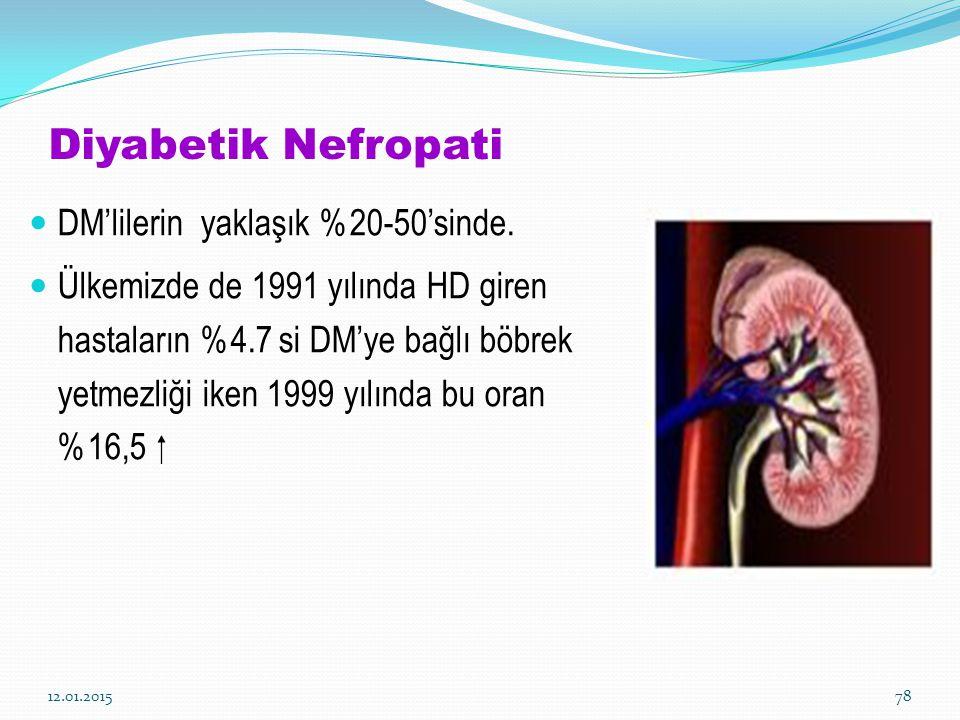 Diyabetik Nefropati DM'lilerin yaklaşık %20-50'sinde.