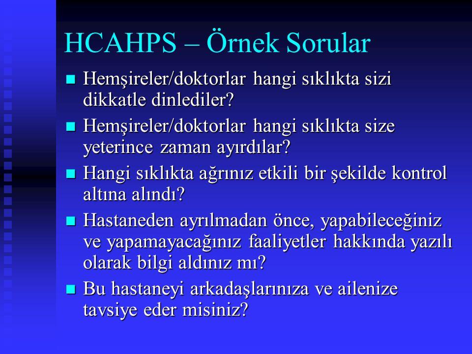 HCAHPS – Örnek Sorular Hemşireler/doktorlar hangi sıklıkta sizi dikkatle dinlediler