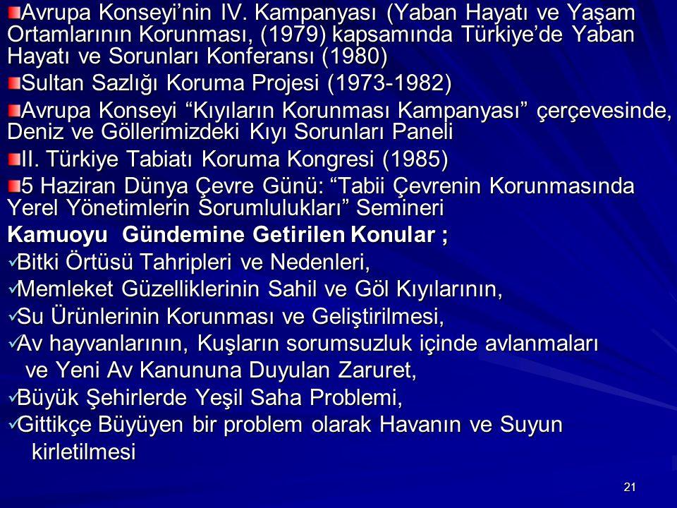 Avrupa Konseyi'nin IV. Kampanyası (Yaban Hayatı ve Yaşam Ortamlarının Korunması, (1979) kapsamında Türkiye'de Yaban Hayatı ve Sorunları Konferansı (1980)