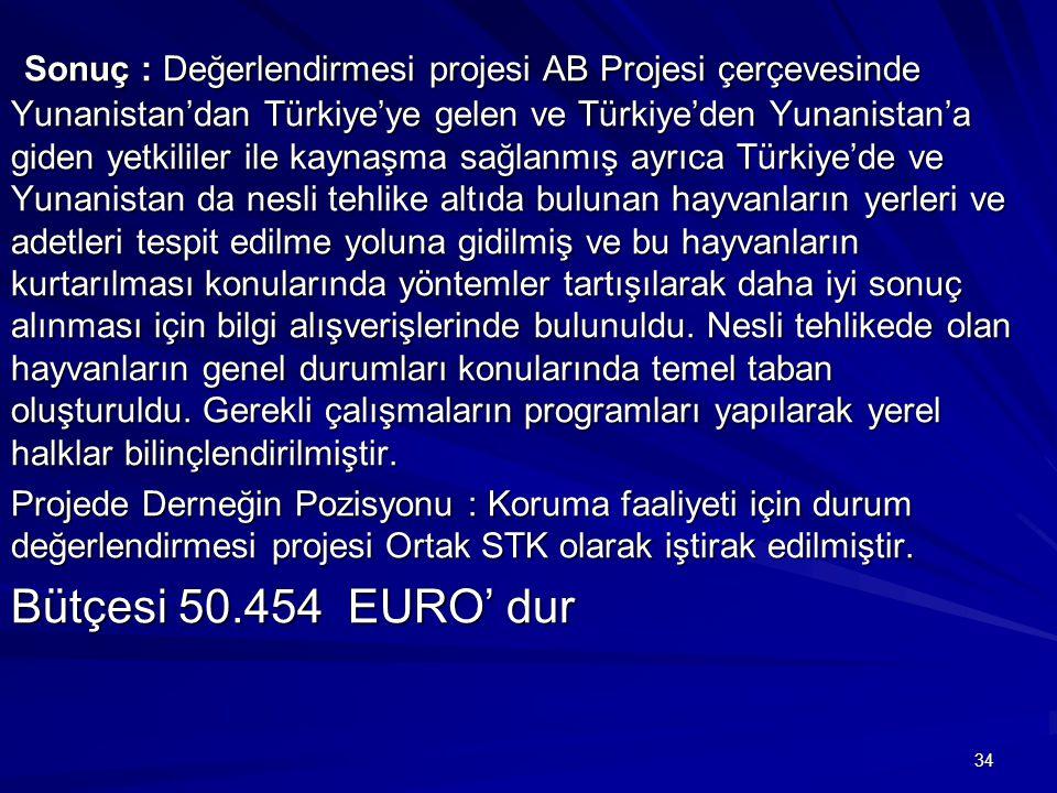 Sonuç : Değerlendirmesi projesi AB Projesi çerçevesinde Yunanistan'dan Türkiye'ye gelen ve Türkiye'den Yunanistan'a giden yetkililer ile kaynaşma sağlanmış ayrıca Türkiye'de ve Yunanistan da nesli tehlike altıda bulunan hayvanların yerleri ve adetleri tespit edilme yoluna gidilmiş ve bu hayvanların kurtarılması konularında yöntemler tartışılarak daha iyi sonuç alınması için bilgi alışverişlerinde bulunuldu. Nesli tehlikede olan hayvanların genel durumları konularında temel taban oluşturuldu. Gerekli çalışmaların programları yapılarak yerel halklar bilinçlendirilmiştir.