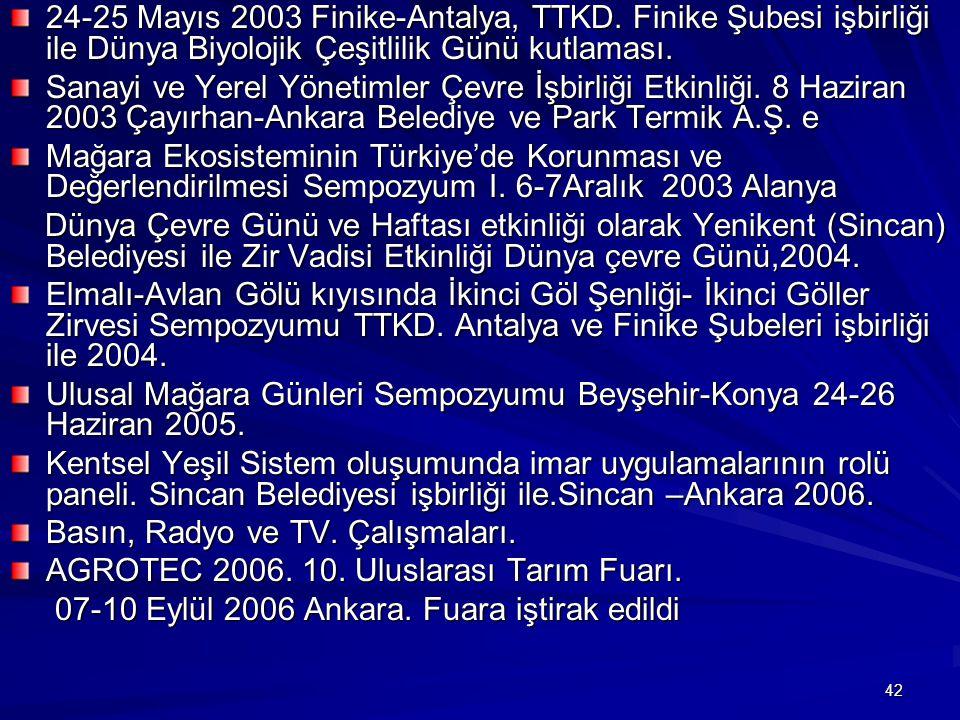 24-25 Mayıs 2003 Finike-Antalya, TTKD