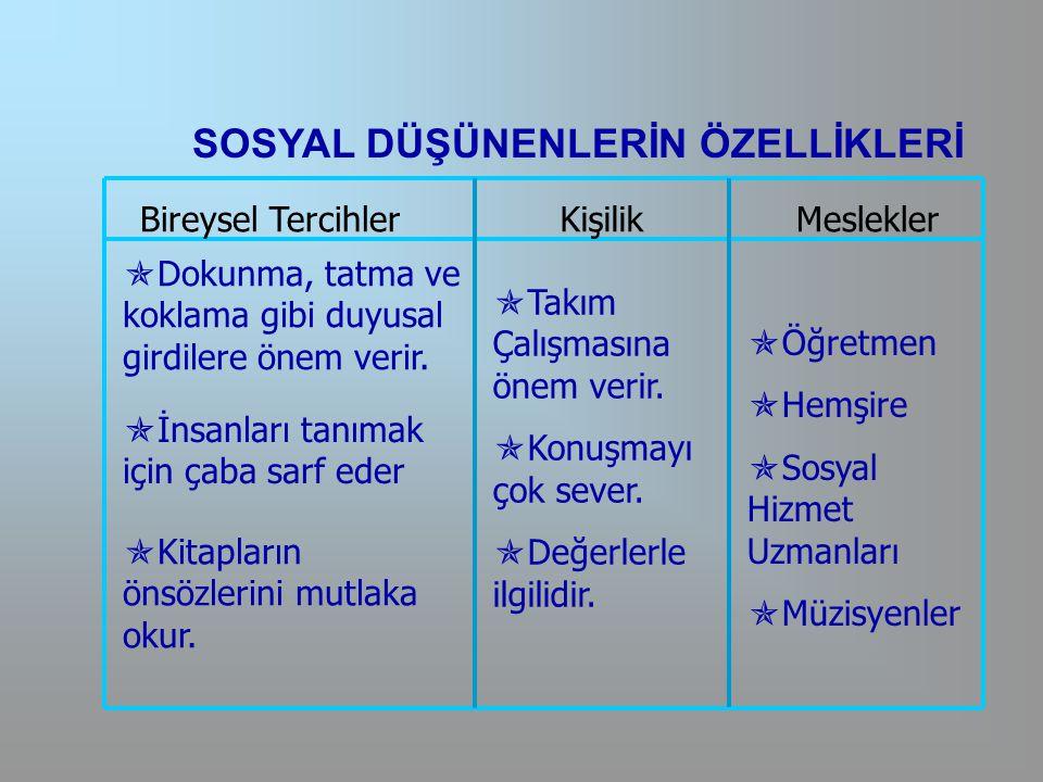 SOSYAL DÜŞÜNENLERİN ÖZELLİKLERİ