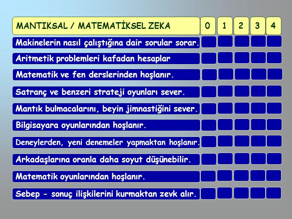 MANTIKSAL / MATEMATİKSEL ZEKA 1 2 3 4