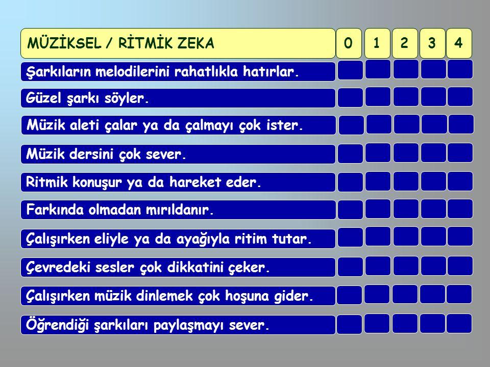 MÜZİKSEL / RİTMİK ZEKA 1. 2. 3. 4. Şarkıların melodilerini rahatlıkla hatırlar. Güzel şarkı söyler.