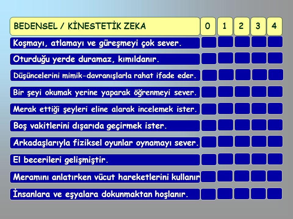 BEDENSEL / KİNESTETİK ZEKA 1 2 3 4