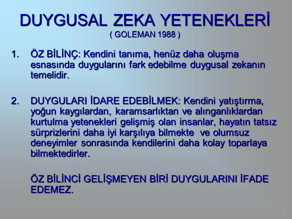 DUYGUSAL ZEKA YETENEKLERİ ( GOLEMAN 1988 )