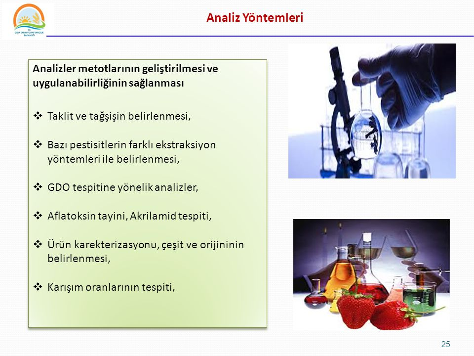 Analiz Yöntemleri Analizler metotlarının geliştirilmesi ve uygulanabilirliğinin sağlanması. Taklit ve tağşişin belirlenmesi,