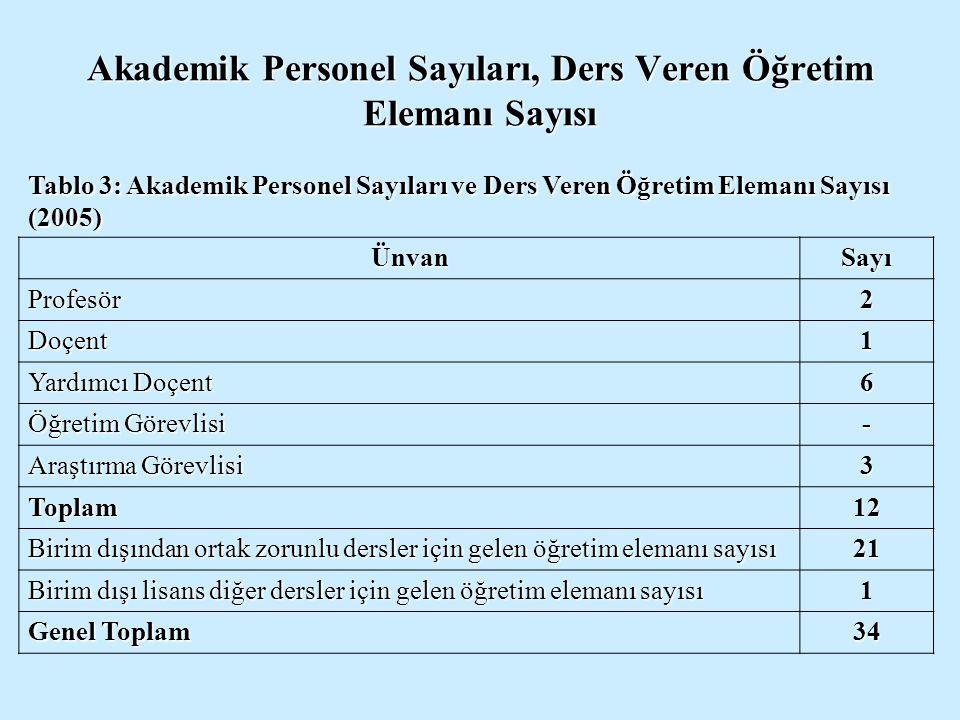 Akademik Personel Sayıları, Ders Veren Öğretim Elemanı Sayısı