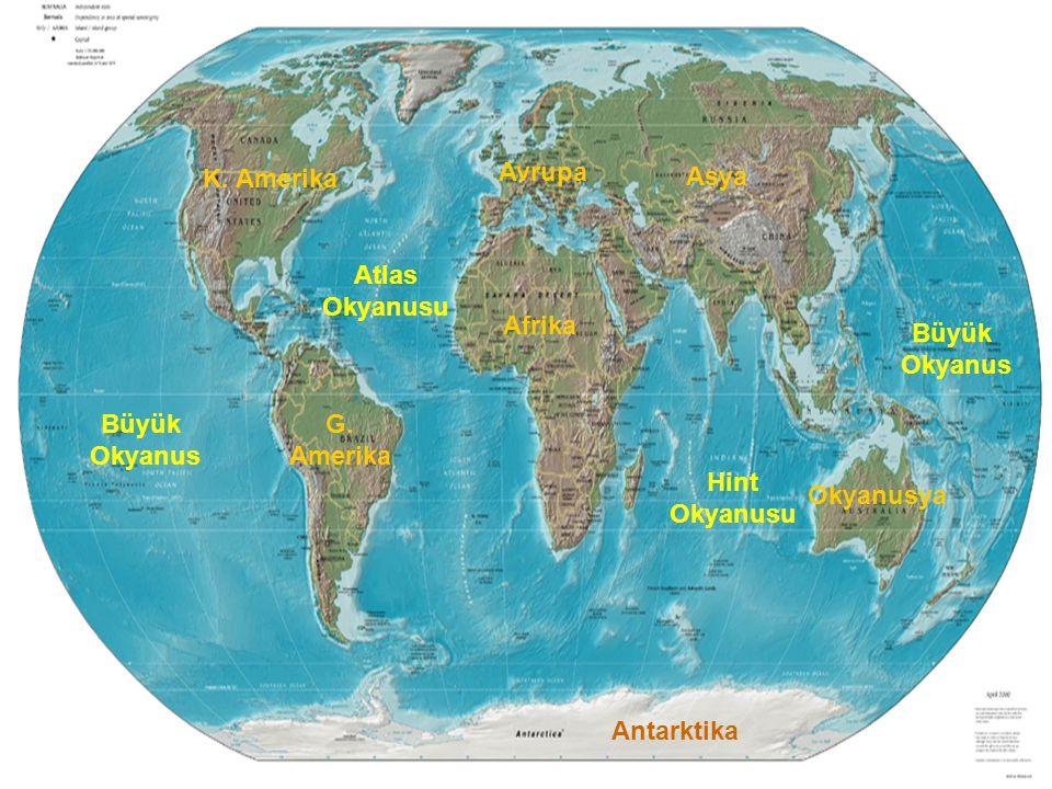 K. Amerika Avrupa. Asya. Atlas. Okyanusu. Afrika. Büyük. Okyanus. Büyük. Okyanus. G. Amerika.