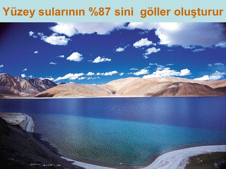 Yüzey sularının %87 sini göller oluşturur