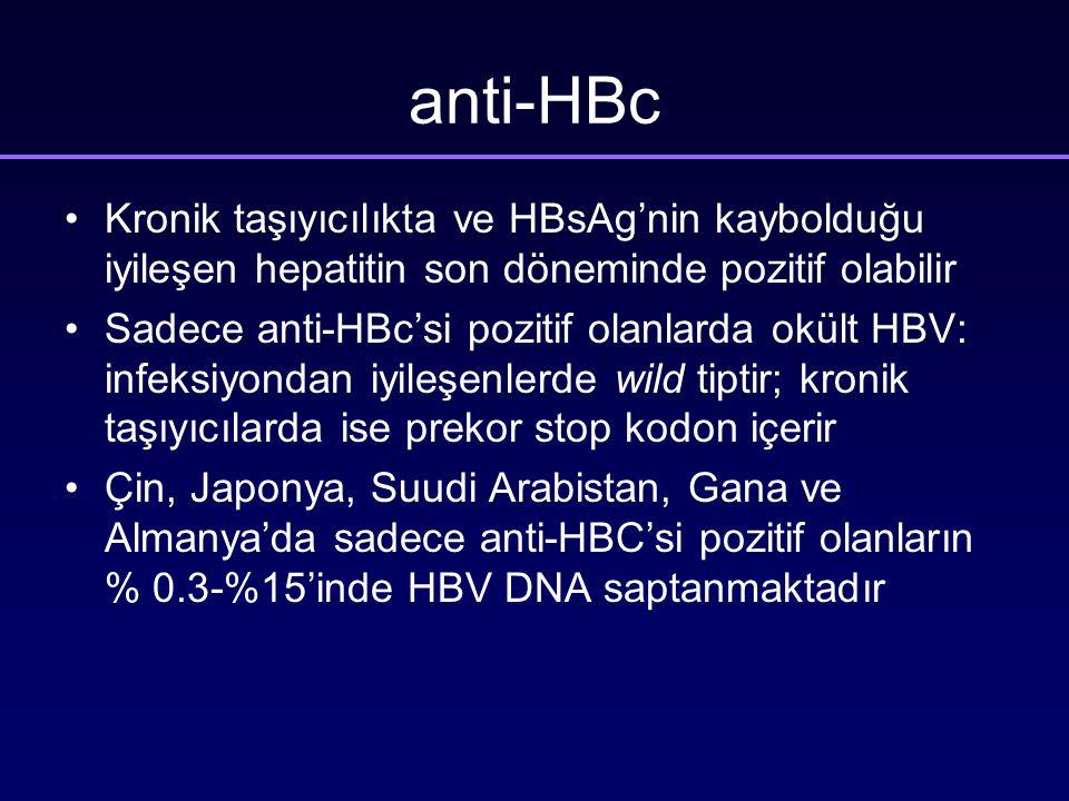 anti-HBc Kronik taşıyıcılıkta ve HBsAg'nin kaybolduğu iyileşen hepatitin son döneminde pozitif olabilir.