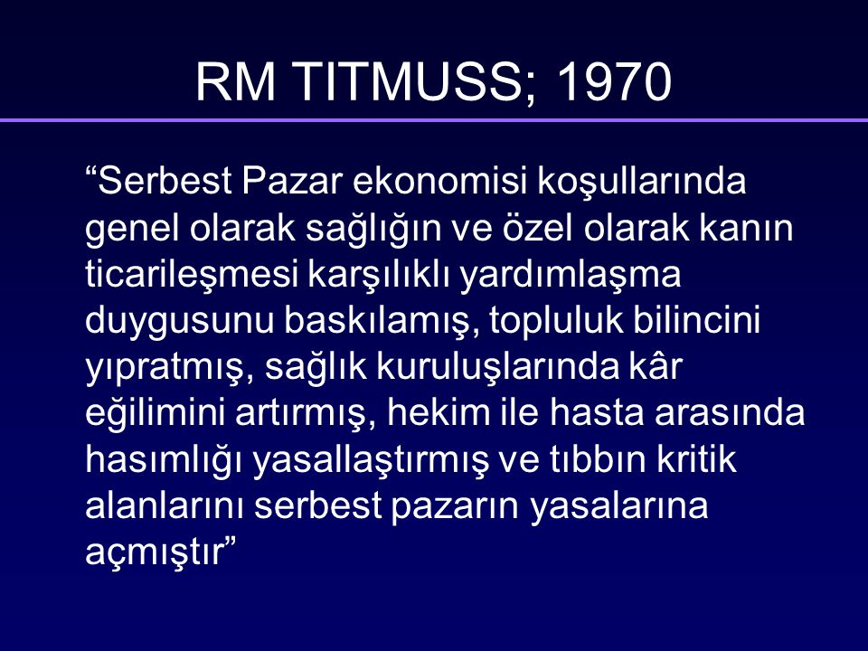 RM TITMUSS; 1970