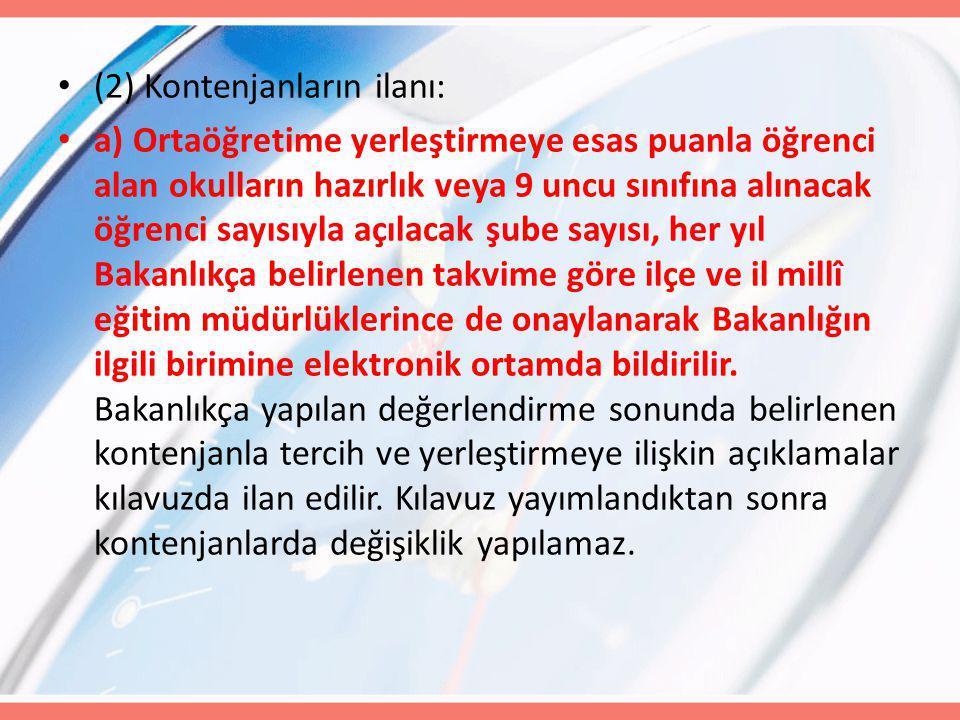 (2) Kontenjanların ilanı: