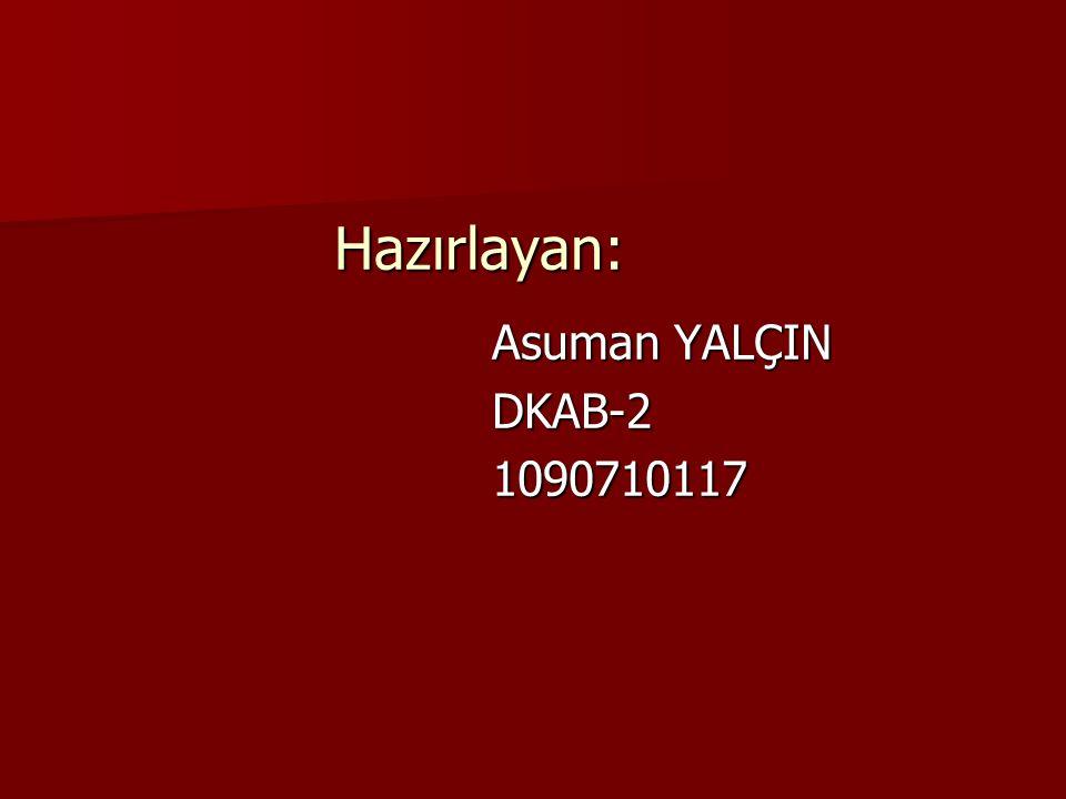 Hazırlayan: Asuman YALÇIN DKAB-2 1090710117