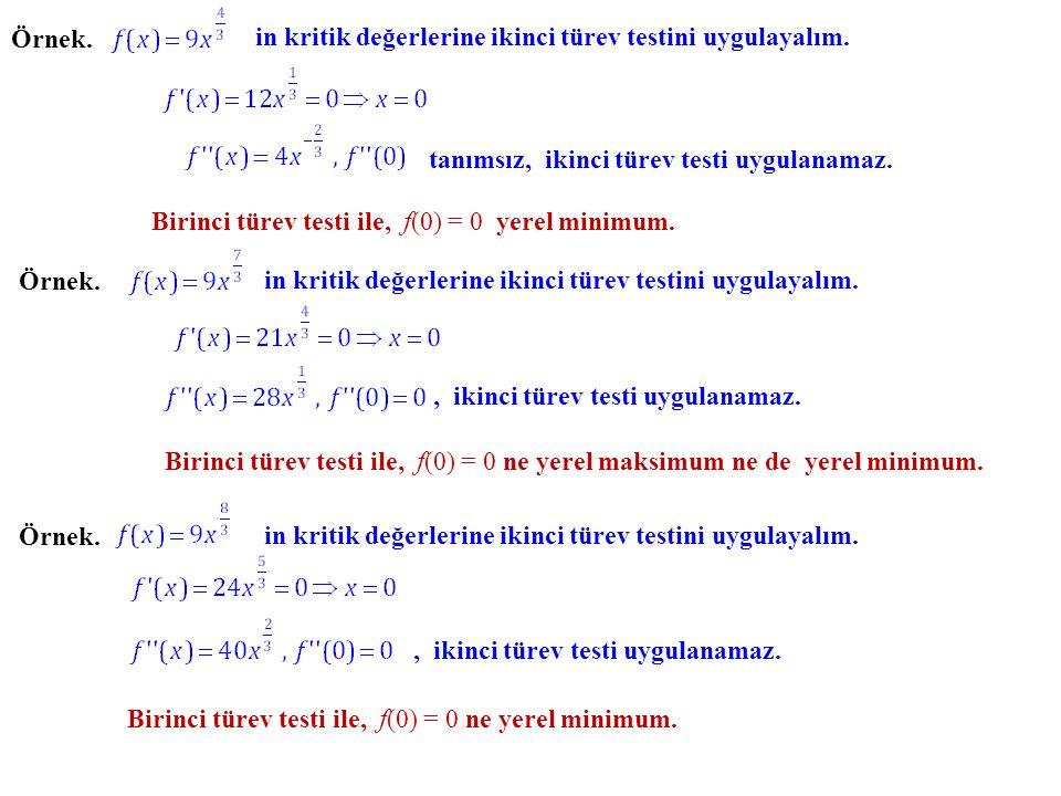 Örnek. in kritik değerlerine ikinci türev testini uygulayalım. tanımsız, ikinci türev testi uygulanamaz.