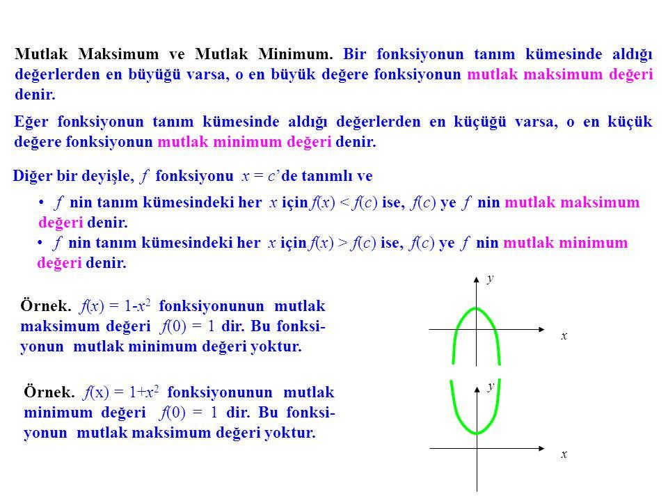 Diğer bir deyişle, f fonksiyonu x = c'de tanımlı ve