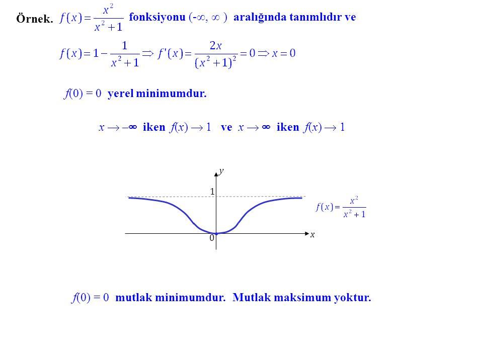 fonksiyonu (-∞, ∞ ) aralığında tanımlıdır ve